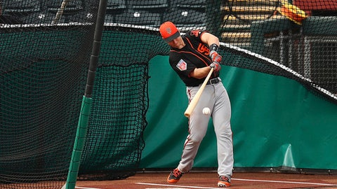 San Francisco Giants' Buster Posey swings during a spring training baseball batting practice on Thursday, Feb. 15, 2018 in Scottsdale, Ariz. (AP Photo/Ben Margot)
