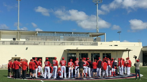 The Washington Nationals gather during spring training baseball, Thursday, Feb. 15, 2018, in West Palm Beach, Fla. (Ap Photo/Mike Fitzpatrick)