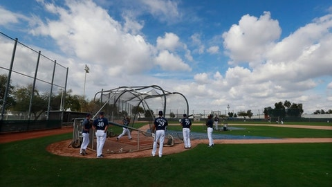 The Milwaukee Brewers take in batting practice at the team's spring training baseball facility Thursday, Feb. 15, 2018, in Maryvale, Ariz. (AP Photo/Carlos Osorio)
