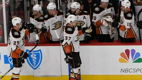 Anaheim Ducks left wing Nick Ritchie (37) celebrates his goal against the Chicago Blackhawks during the second period of an NHL hockey game Thursday, Feb. 15, 2018, in Chicago. (AP Photo/David Banks)