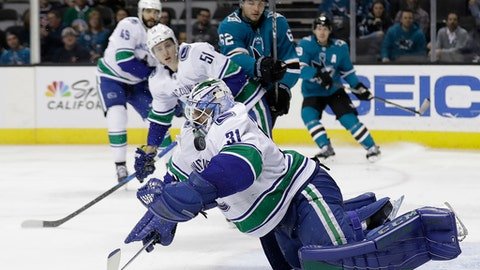 Vancouver Canucks goaltender Anders Nilsson (31) stops a shot by the San Jose Sharks during the second period of an NHL hockey game Thursday, Feb. 15, 2018, in San Jose, Calif. (AP Photo/Marcio Jose Sanchez)