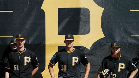 Pittsburgh Pirates pitchers Jordan Milbrath (51), Jameson Taillon (50), and A.J. Schugel, right, stand in the bullpen during baseball spring training Friday, Feb. 16, 2018, in Bradenton, Fla. (AP Photo/John Minchillo)