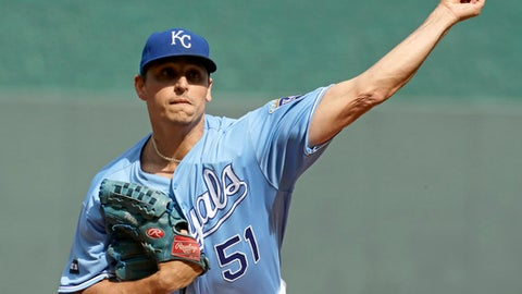 Kansas City Royals starting pitcher Jason Vargas throws during the first inning of a baseball game against the Arizona Diamondbacks Sunday, Oct. 1, 2017, in Kansas City, Mo. (AP Photo/Charlie Riedel)