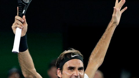 FILE - In this file photo dated Sunday, Jan. 28, 2018, Switzerland's Roger Federer celebrates after defeating Croatia's Marin Cilic in the men's singles final at the Australian Open tennis championships in Melbourne, Australia. The 36-year-old Federer would become the oldest ever world No. 1, when the new rankings are published upcoming Monday Feb. 19, if he beats leading Dutch player Robin Haase in the ABN AMRO world tennis tournament in Rotterdam.(AP Photo/Dita Alangkara, FILE)