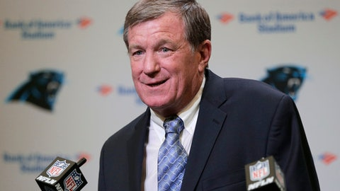 Carolina Panthers interim general manager Marty Hurney speaks to the media during a news conference in Charlotte, N.C., Wednesday, July 19, 2017. The Panthers rehired Marty Hurney as their interim general manager two days after owner Jerry Richardson surprisingly fired Dave Gettleman.(AP Photo/Chuck Burton)