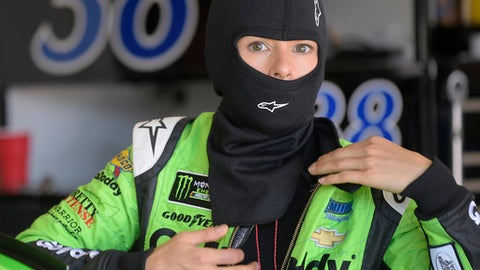 Danica Patrick prepares for practice for the NASCAR Daytona 500 Cup Series auto race at Daytona International Speedway in Daytona Beach, Fla., Saturday, Feb. 17, 2018. Patrick has one last chance at a win in NASCAR, on its biggest stage, at the Daytona 500. She will run only that event, then focus on the Indianapolis 500 before she retires as a race car driver. (AP Photo/Phelan M. Ebenhack)