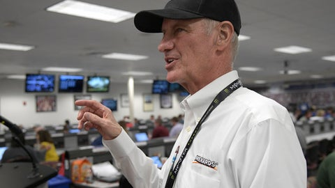 Eddie Wood speaks to reporters after a news conference for the NASCAR Daytona 500 Cup Series auto race at Daytona International Speedway in Daytona Beach, Fla., Saturday, Feb. 17, 2018. Eddie Wood's father, Hall of Fame team owner/driver Glen Wood, will miss the Daytona 500 for the first time in the race's history. (AP Photo/Phelan M. Ebenhack)