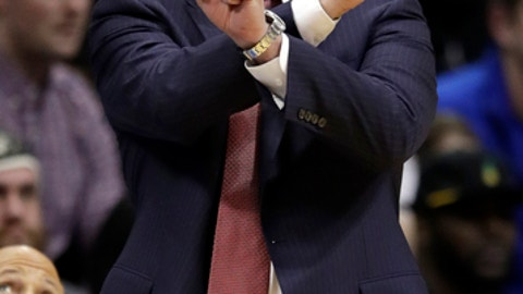 Kansas coach Bill Self calls a play during the first half of the team's NCAA college basketball game against West Virginia in Lawrence, Kan., Saturday, Feb. 17, 2018. (AP Photo/Orlin Wagner)