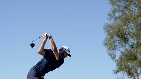 Dustin Johnson tees off on the second hole during the final round of the Genesis Open golf tournament at Riviera Country Club Sunday, Feb. 18, 2018, in the Pacific Palisades area of Los Angeles. (AP Photo/Ryan Kang)