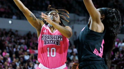 Mississippi State guard Jazzmun Holmes (10) attempts a hook shot past Texas A&M forward Anriel Howard (5) in the first half of an NCAA college basketball game in Starkville, Miss., Sunday Feb. 18, 2018. (AP Photo/Rogelio V. Solis/)