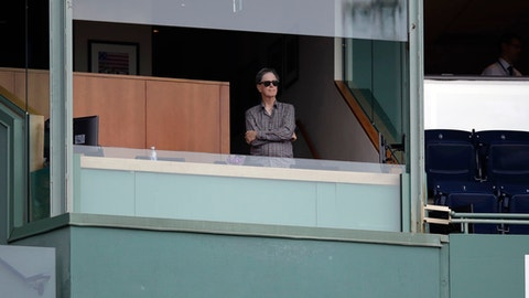 Boston Red Sox owner John Henry watches play from his box a baseball game at Fenway Park in Boston, Thursday, Sept. 14, 2017. (AP Photo/Charles Krupa)