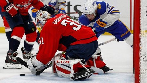 Buffalo Sabres forward Evan Rodrigues (71) is stopped by Washington Capitals goalie Philipp Grubauer (31) during the second period of an NHL hockey game, Monday, Feb. 19, 2018, in Buffalo, N.Y. (AP Photo/Jeffrey T. Barnes)