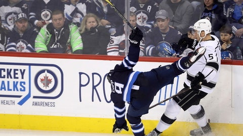 Winnipeg Jets' Andrew Copp (9) is off-balance after colliding with Los Angeles Kings' Christian Folin (5) during the third period of an NHL hockey game Tuesday, Feb. 20, 2018, in Winnipeg, Manitoba. (Trevor Hagan/The Canadian Press via AP)