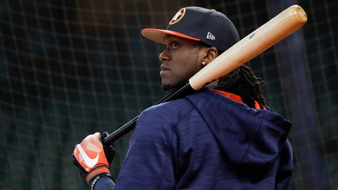 Houston Astros center fielder Cameron Maybin waits to hit during batting practice before Game 5 of baseball's World Series against the Los Angeles Dodgers Sunday, Oct. 29, 2017, in Houston. (AP Photo/Matt Slocum)