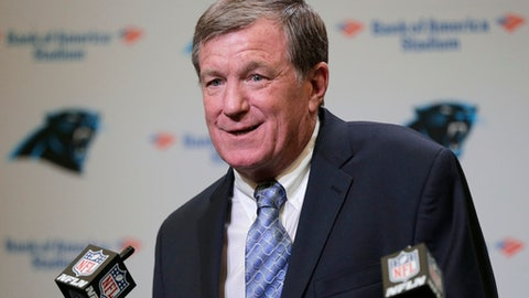 FILE - In this July 19, 2017, file photo, Carolina Panthers interim general manager Marty Hurney speaks to the media during a news conference in Charlotte, N.C. The Panthers have re-hired Marty Hurney as their full-time general manager. This will be Hurneys second stint as Carolinas general manager, having previously worked for the Panthers from 1998-2012, beginning as GM in 2002. Hurney also worked with the Panthers since last July as the interim general manager.(AP Photo/Chuck Burton, File)