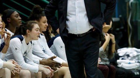 Connecticut head coach Geno Auriemma watches the action during the first half of an NCAA college basketball game against Tulane, in New Orleans, Wednesday, Feb. 21, 2018. (AP Photo/Scott Threlkeld)