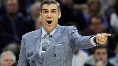 Villanova coach Jay Wright shouts from the sideline during the first half of the team's NCAA college basketball game against DePaul, Wednesday, Feb. 21, 2018, in Philadelphia. (AP Photo/Laurence Kesterson)