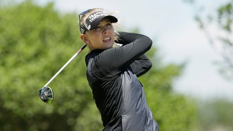 Jessica Korda watches a tee shot during the final round of the LPGA Texas Shootout golf tournament in Irving,Texas Sunday, April 30, 2017. (AP Photo/LM Otero)