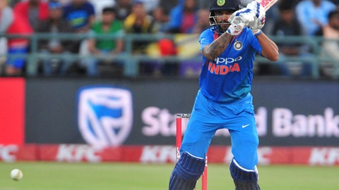India's Shikhar Dhawan at the wicket during the third and final T20 cricket match between South Africa and India in Cape Town, South Africa, Saturday, Feb. 24, 2018. (AP Photo)