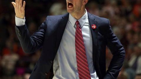 Louisville head coach David Padgett  in the first half of an NCAA basketball game against Virginia Tech in Blacksburg Va. Saturday, Feb. 24 2018. (Matt Gentry/The Roanoke Times via AP)