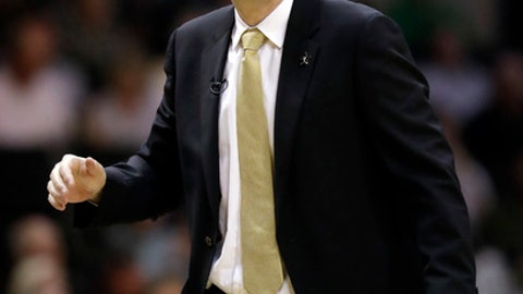 Vanderbilt head coach Bryce Drew watches from the sideline in the first half of an NCAA college basketball game against Texas A&M Saturday, Feb. 24, 2018, in Nashville, Tenn. (AP Photo/Mark Humphrey)