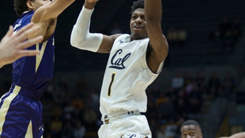 California's Darius McNeill (1) passes over Washington's Matisse Thybulle (4) during the first half of an NCAA college basketball game, Saturday, Feb. 24, 2018, in Berkeley, Calif. (AP Photo/D. Ross Cameron)