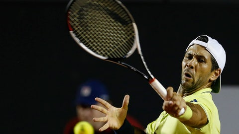 Spain's Fernando Verdasco returns the ball to Italy's Fabio Fognini during a semifinal of the Rio Open tennis tournament in Rio de Janeiro, Brazil, Saturday, Feb. 24, 2018. (AP Photo/Leo Correa)