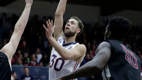 Saint Mary's guard Jordan Ford (30) shoots against Santa Clara during the first half of an NCAA college basketball game in Moraga, Calif., Saturday, Feb. 24, 2018. (AP Photo/Jeff Chiu)