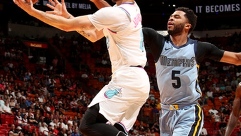 MIAMI, FL - FEBRUARY 24: Tyler Johnson #8 of the Miami Heat shoots the ball during the game against the Memphis Grizzlies on February 24, 2018 at American Airlines Arena in Miami, Florida. (Photo by Issac Baldizon/NBAE via Getty Images)