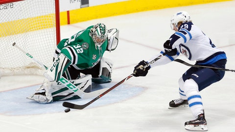 Winnipeg Jets forward Patrik Laine (29) attempts a shot as Dallas Stars goaltender Kari Lehtonen (32) defends during the second period of an NHL hockey game, Saturday, Feb. 24, 2018, in Dallas. (AP Photo/Brandon Wade)