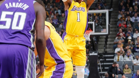 SACRAMENTO, CA - FEBRUARY 24:  Kentavious Caldwell-Pope #1 of the Los Angeles Lakers shoots the ball against the Sacramento Kings on February 24, 2018 at Golden 1 Center in Sacramento, California. (Photo by Rocky Widner/NBAE via Getty Images)