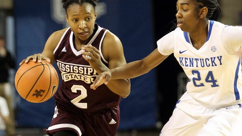 Mississippi State's Morgan William (2) drives on Kentucky's Taylor Murray (24) during the first quarter of an NCAA college basketball game, Sunday, Feb. 25, 2018, in Lexington, Ky. (AP Photo/James Crisp)