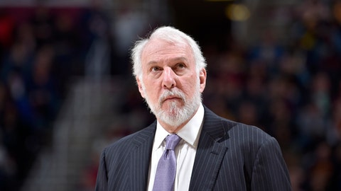 CLEVELAND, OH - FEBRUARY 25:  Head Coach Gregg Popovich of the San Antonio Spurs looks on during the game against the Cleveland Cavaliers on February 25, 2018 at Quicken Loans Arena in Cleveland, Ohio. (Photo by David Liam Kyle/NBAE via Getty Images)