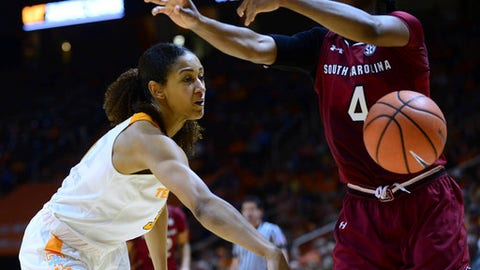 Tennessee guard/forward Jaime Nared, left, knocks the ball away from South Carolina guard Doniyah Cliney (4) during the second half of an NCAA college basketball game in Knoxville, Tenn., Sunday, Feb. 25, 2018. (Joy Kimbrough/The Daily Times via AP)