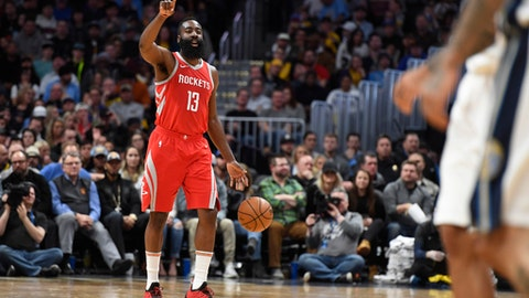 DENVER, CO - FEBRUARY 25:  Guard James Harden #13 of the Houston Rockets calls out a play against the Denver Nuggets at Pepsi Center on February 25, 2018 in Denver, Colorado. (Photo by Justin Tafoya/Getty Images)