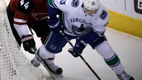 Vancouver Canucks center Bo Horvat (53) shields Arizona Coyotes defenseman Kevin Connauton from the puck in the second period during an NHL hockey game, Sunday, Feb. 25, 2018, in Glendale, Ariz. (AP Photo/Rick Scuteri)