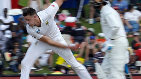 FILE - In this file photo dated Sunday, Jan. 14, 2018, South Africa's bowler Morne Morkel in action during the second day of the second cricket Test match between South Africa and India at Centurion Park in Pretoria, South Africa.  South Africa's fast bowler Morne Morkel said Monday Feb. 26, 2018, he will retire from all forms of international cricket after the upcoming test series against Australia. (AP Photo/Themba Hadebe, FILE)