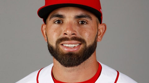 FILE - This is a 2018 file photo showing Jose Peraza of the Cincinnati Reds baseball team. One of the biggest questions for the Reds is whether Peraza can move from second base to shortstop and adequately replace All-Star Zack Cozart. (AP Photo/Ross D. Franklin, File)