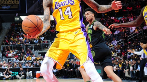 ATLANTA, GA - FEBRUARY 26:  Brandon Ingram #14 of the Los Angeles Lakers handles the ball against the Atlanta Hawks on February 26, 2018 at Philips Arena in Atlanta, Georgia.  (Photo by Scott Cunningham/NBAE via Getty Images)