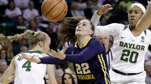 West Virginia guard Katrina Pardee (22) attempts to regain control of the ball in front of Baylor's Kristy Wallace (4) and guard Juicy Landrum (20) in the first half of an NCAA college basketball game Monday, Feb. 26, 2018, in Waco, Texas. (AP Photo/Tony Gutierrez)