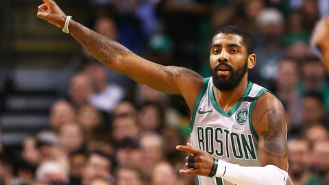 BOSTON, MA - FEBRUARY 26:  Kyrie Irving #11 of the Boston Celtics gestures during a game against the Memphis Grizzlies at TD Garden on February 26, 2018 in Boston, Massachusetts. (Photo by Adam Glanzman/Getty Images)