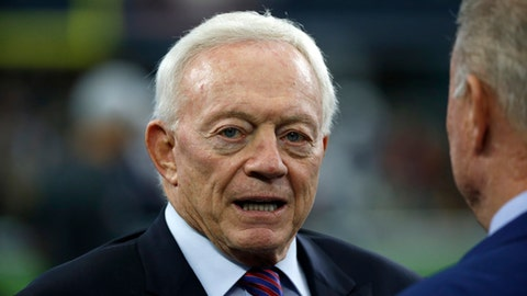 FILE - In this Nov. 23, 2017, file photo, Dallas Cowboys team owner Jerry Jones stands on the field as the team warms up before an NFL football game against the Los Angeles Chargers in Arlington, Texas. A person with knowledge of the situation says the NFL is exploring options to get more than $2 million in reimbursement for legal fees from Jones over his threat to derail Commissioner Roger Goodells contract extension and his support of running back Ezekiel Elliotts fight to avoid a six-game suspension. The person spoke to The Associated Press on Monday, Feb. 26, 2018, on condition of anonymity because the matter has not being publicly addressed. (AP Photo/Ron Jenkins, File)