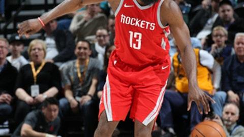 SALT LAKE CITY, UT - FEBRUARY 26:  James Harden #13 of the Houston Rockets handles the ball against the Utah Jazz on February 26, 2018 at vivint.SmartHome Arena in Salt Lake City, Utah. (Photo by Melissa Majchrzak/NBAE via Getty Images)