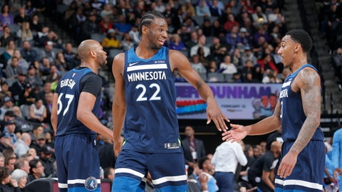 SACRAMENTO, CA - FEBRUARY 26:  Andrew Wiggins #22 and Jeff Teague #0 of the Minnesota Timberwolves shake hands during the game against the Sacramento Kings on February 26, 2018 at Golden 1 Center in Sacramento, California. (Photo by Rocky Widner/NBAE via Getty Images)
