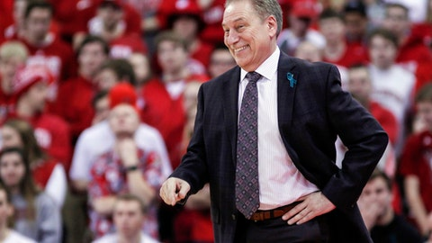 FILE - In this Feb. 25, 2018, file photo, Michigan State head coach Tom Izzo smiles during the first half of an NCAA college basketball game against Wisconsin in Madison, Wis. Coach Izzos team won the conference crown outright and the top seed in the Big Ten tourney by grinding out a 68-63 win at Wisconsin. (AP Photo/Andy Manis, File)