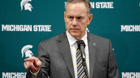 FILE - In this Jan. 26, 2018, file photo, Michigan State football coach Mark Dantonio addresses the media in East Lansing, Mich. Dantonio says he wants to be a part of the solution as both the school and his football program face ongoing questions about how sexual assault allegations have been handled. Dantonio spoke at the start of spring practice Tuesday, saying he hopes the community and university are healing. The campus has been rocked by the sex-abuse scandal involving disgraced doctor Larry Nassar, and the schools president and athletic director resigned last month. (AP Photo/Al Goldis, File)