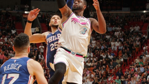 MIAMI, FL - FEBRUARY 27:  Dwyane Wade #3 of the Miami Heat shoots the ball against the Philadelphia 76ers on February 27, 2018 at American Airlines Arena in Miami, Florida. (Photo by Oscar Baldizon/NBAE via Getty Images)