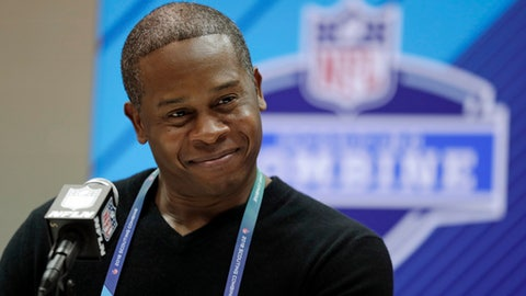 Denver Broncos head coach Vance Joseph speaks during a press conference at the NFL Combine in Indianapolis, Wednesday, Feb. 28, 2018. (AP Photo/Michael Conroy)