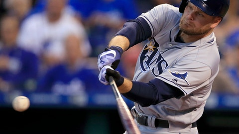 Tampa Bay Rays designated hitter Lucas Duda hits a three-run home run off Kansas City Royals starting pitcher Ian Kennedy during the third inning of a baseball game at Kauffman Stadium in Kansas City, Mo., Monday, Aug. 28, 2017. (AP Photo/Orlin Wagner)