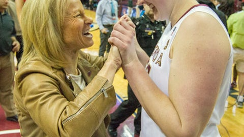 FILE- In this March 17, 2017 file photo, Florida State head coach Sue Semrau, left, celebrating with center Chatrice White after defeating Western Illinois in a first-round game of the NCAA women's college basketball tournament in Tallahassee, Fla. Florida State's women's team has had transfers benefit the program in recent seasons, but this year might be the biggest impact. Three of the team's top five scorers are transfers as the 11th-ranked Seminoles look to solidify a high seed during this week's ACC Tournament. (AP Photo/Mark Wallheiser, File)